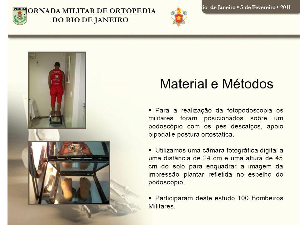 JORNADA MILITAR DE ORTOPEDIA DO RIO DE JANEIRO Rio de Janeiro 5 de Fevereiro 2011 Para a realização da fotopodoscopia os militares foram posicionados sobre um podoscópio com os pés descalços, apoio bipodal e postura ortostática.