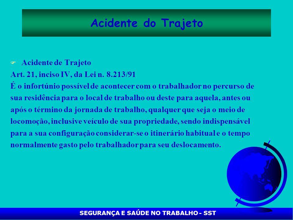 SEGURANÇA E SAÚDE NO TRABALHO - SST Acidente do Trajeto F Acidente de Trajeto Art. 21, inciso IV, da Lei n. 8.213/91 É o infortúnio possível de aconte