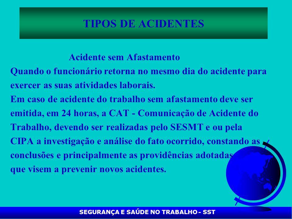 SEGURANÇA E SAÚDE NO TRABALHO - SST TIPOS DE ACIDENTES Acidente sem Afastamento Quando o funcionário retorna no mesmo dia do acidente para exercer as