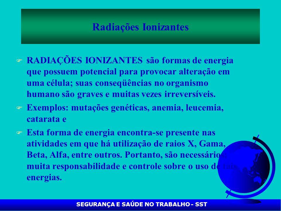 F RADIAÇÕES IONIZANTES são formas de energia que possuem potencial para provocar alteração em uma célula; suas conseqüências no organismo humano são g