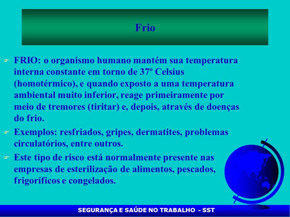F FRIO: o organismo humano mantém sua temperatura interna constante em torno de 37º Celsius (homotérmico), e quando exposto a uma temperatura ambienta