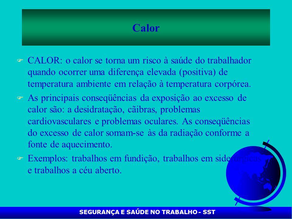 F CALOR: o calor se torna um risco à saúde do trabalhador quando ocorrer uma diferença elevada (positiva) de temperatura ambiente em relação à tempera