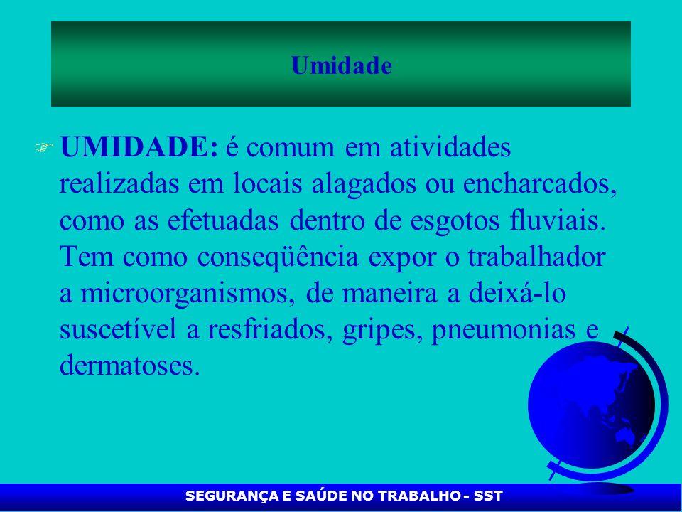 F UMIDADE: é comum em atividades realizadas em locais alagados ou encharcados, como as efetuadas dentro de esgotos fluviais. Tem como conseqüência exp