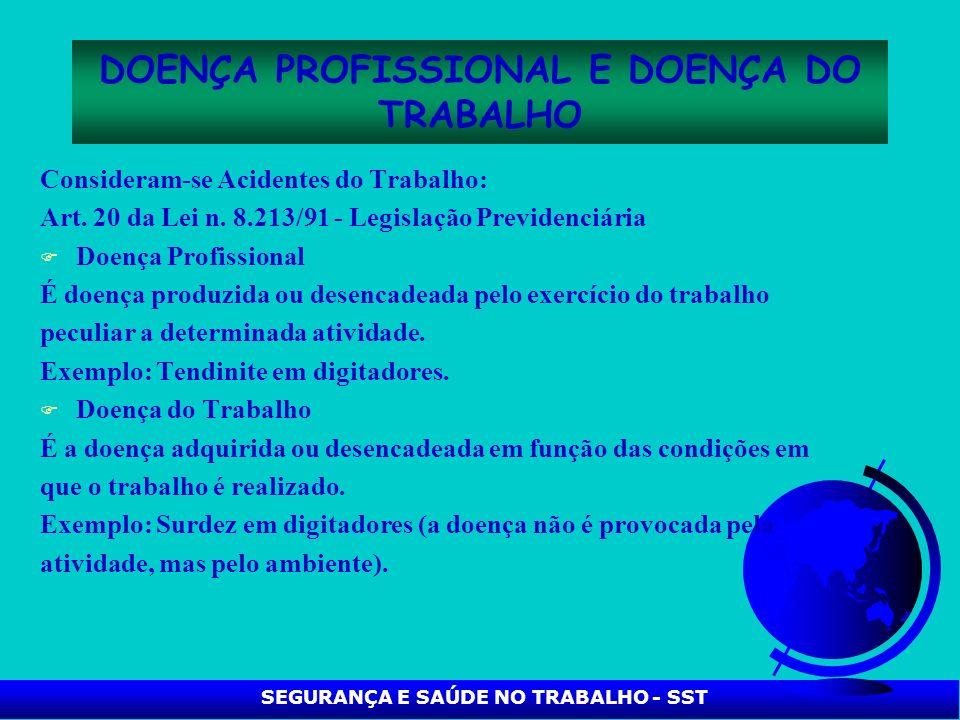 SEGURANÇA E SAÚDE NO TRABALHO - SST DOENÇA PROFISSIONAL E DOENÇA DO TRABALHO Consideram se Acidentes do Trabalho: Art. 20 da Lei n. 8.213/91 Legislaçã