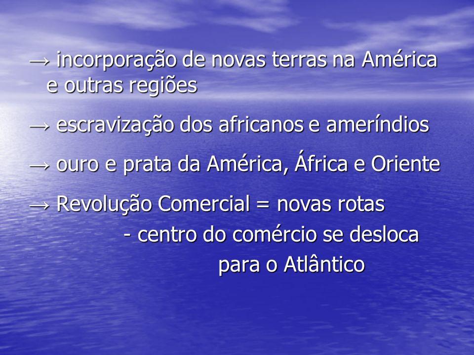 incorporação de novas terras na América e outras regiões incorporação de novas terras na América e outras regiões escravização dos africanos e amerínd