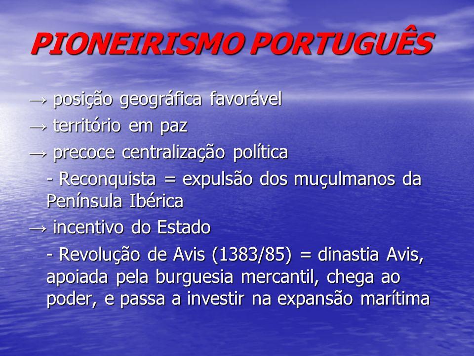 PIONEIRISMO PORTUGUÊS posição geográfica favorável posição geográfica favorável território em paz território em paz precoce centralização política pre