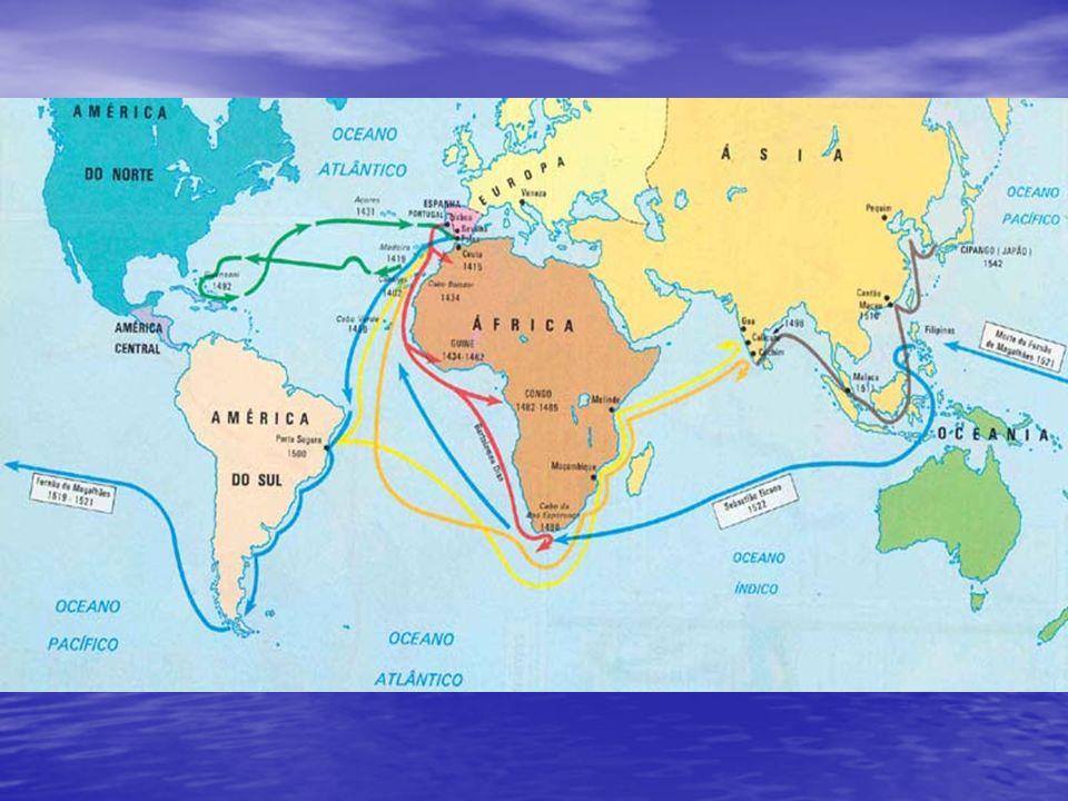 1488 Cabo das Tormentas – extremo sul da África Bartolomeu Dias - Cabo da Boa Esperança ESPANHA - 1492 Tomada de Granada, conclusão da expulsão dos mouros Cristóvão Colombo (Genovês) ( + Isabel de Castela) Cristóvão Colombo (Genovês) ( + Isabel de Castela) volta ao mundo = Índias(3 navios, 90 homens) volta ao mundo = Índias(3 navios, 90 homens)12/outubro chegam à ilha de San Salvador, nas Bahamas (descoberta da América) chegam à ilha de San Salvador, nas Bahamas (descoberta da América) Colombo é glorificado = péssima administração = é preso, morre sem dinheiro Colombo é glorificado = péssima administração = é preso, morre sem dinheiro Américo Vespúcio = navegador, cartógrafo, homem influente- dá o nome ao novo continente Américo Vespúcio = navegador, cartógrafo, homem influente- dá o nome ao novo continente