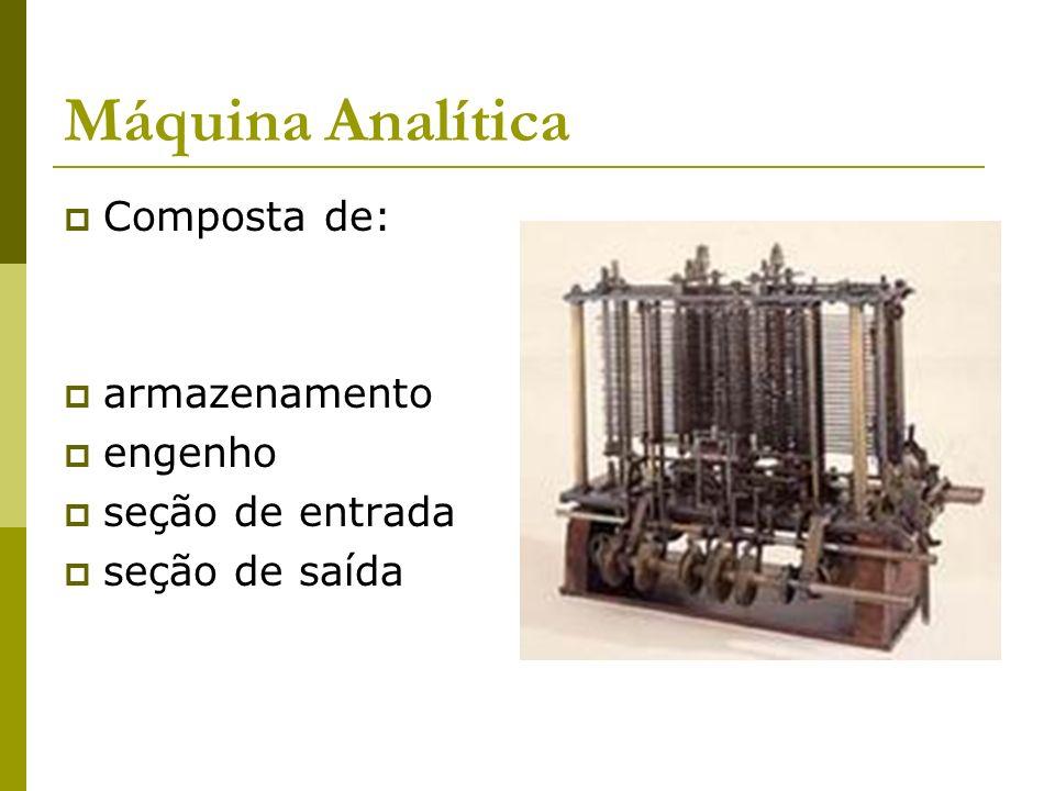 Máquina Analítica Composta de: armazenamento engenho seção de entrada seção de saída