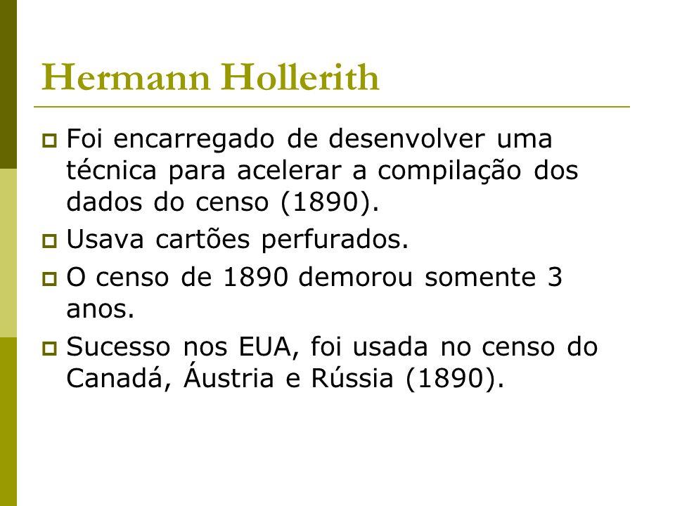 Hermann Hollerith Foi encarregado de desenvolver uma técnica para acelerar a compilação dos dados do censo (1890). Usava cartões perfurados. O censo d