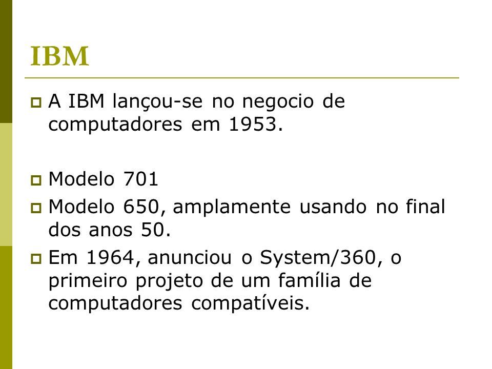 IBM A IBM lançou-se no negocio de computadores em 1953. Modelo 701 Modelo 650, amplamente usando no final dos anos 50. Em 1964, anunciou o System/360,
