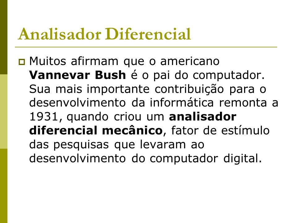 Analisador Diferencial Muitos afirmam que o americano Vannevar Bush é o pai do computador. Sua mais importante contribuição para o desenvolvimento da
