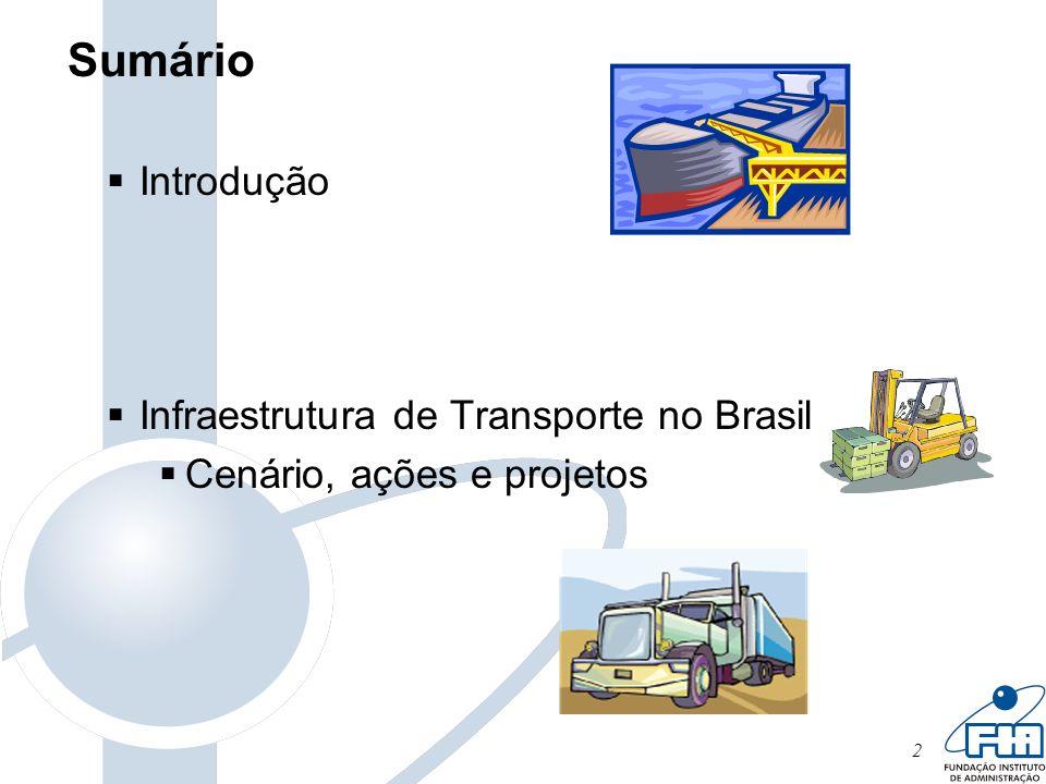 13 Resultado da falta de investimentos e da deficiência da gestão da estrutura dos transportes: desvantagem competitiva do País em relação a seus concorrentes no mercado internacional.