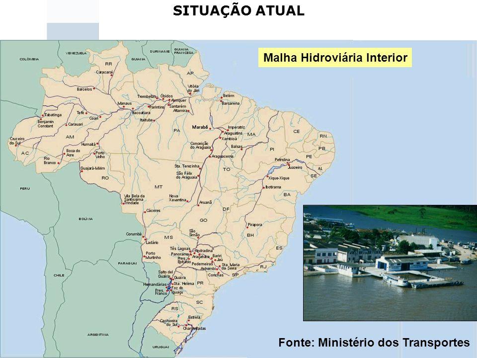 33 SITUAÇÃO ATUAL Malha Hidroviária Interior Fonte: Ministério dos Transportes