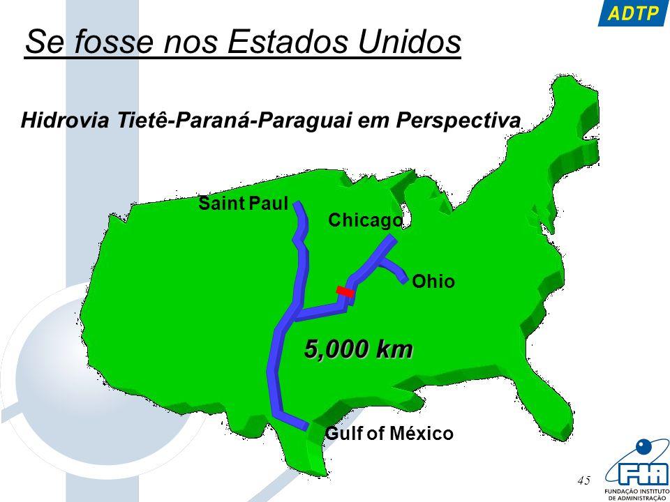 45 Se fosse nos Estados Unidos Hidrovia Tietê-Paraná-Paraguai em Perspectiva Saint Paul Gulf of México Chicago Ohio 5,000 km