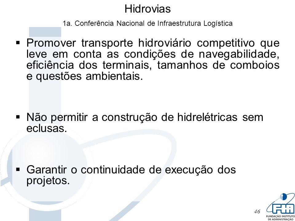 46 Hidrovias Promover transporte hidroviário competitivo que leve em conta as condições de navegabilidade, eficiência dos terminais, tamanhos de combo