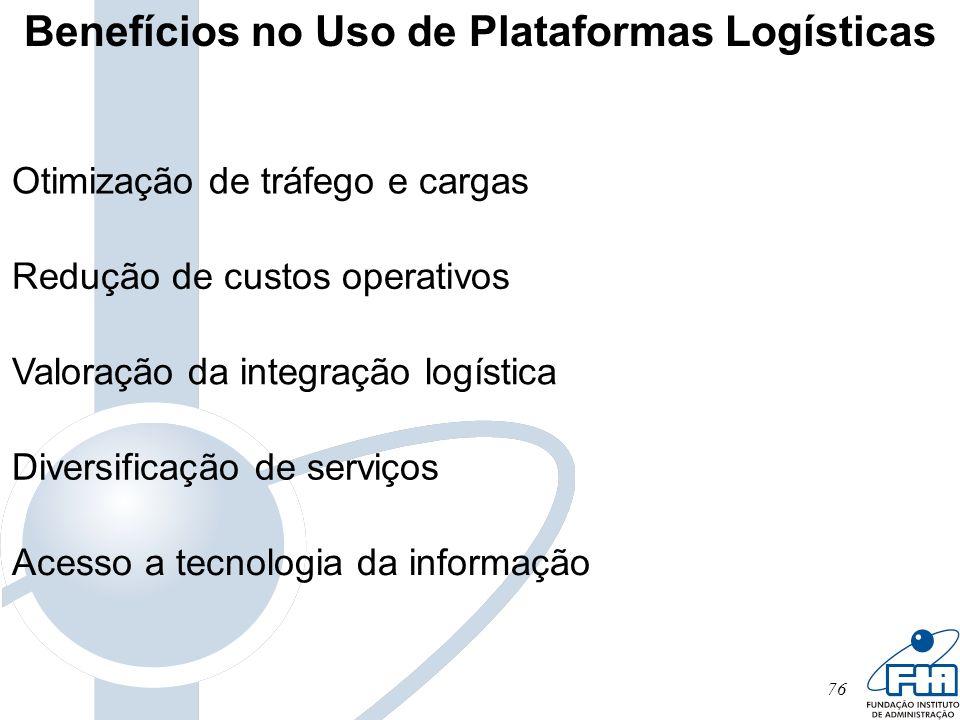 76 Otimização de tráfego e cargas Redução de custos operativos Valoração da integração logística Diversificação de serviços Acesso a tecnologia da inf