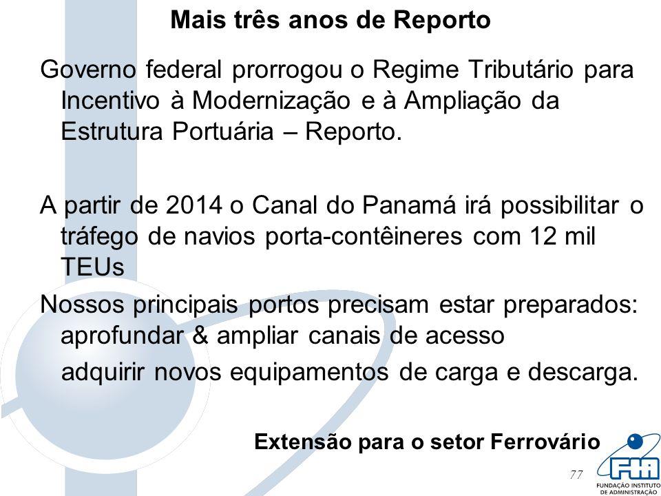 77 Mais três anos de Reporto Governo federal prorrogou o Regime Tributário para Incentivo à Modernização e à Ampliação da Estrutura Portuária – Report