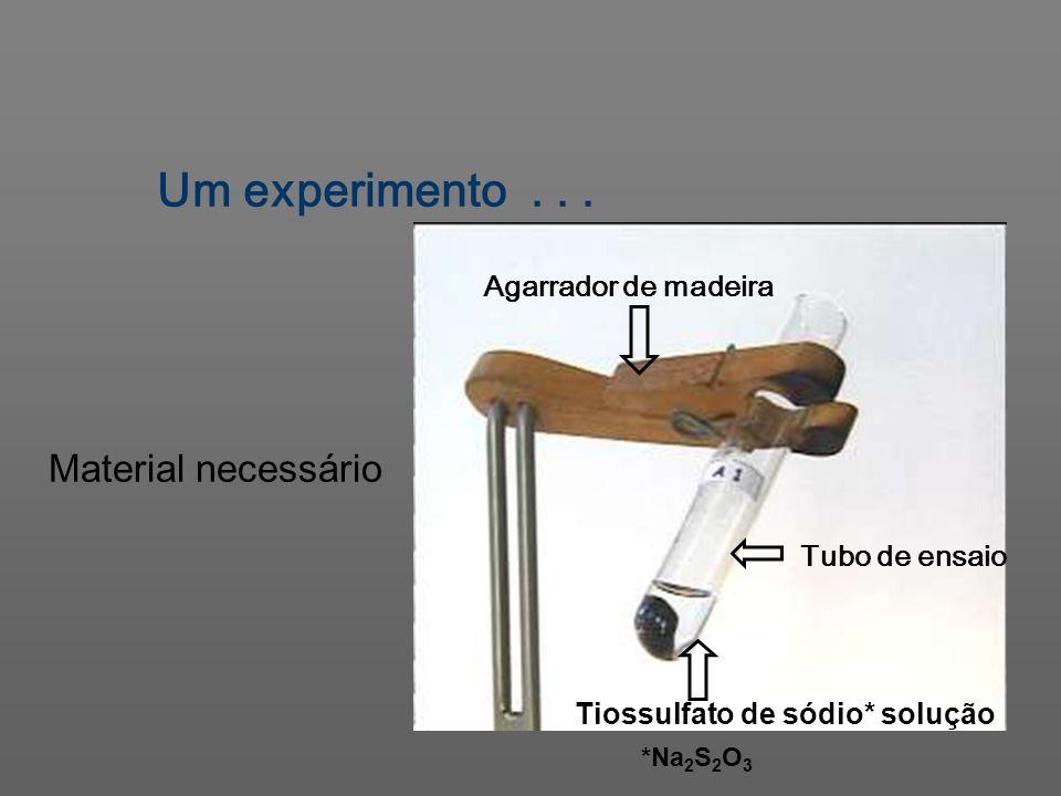 Um experimento... Tubo de ensaio Agarrador de madeira Tiossulfato de sódio* solução Material necessário *Na 2 S 2 O 3