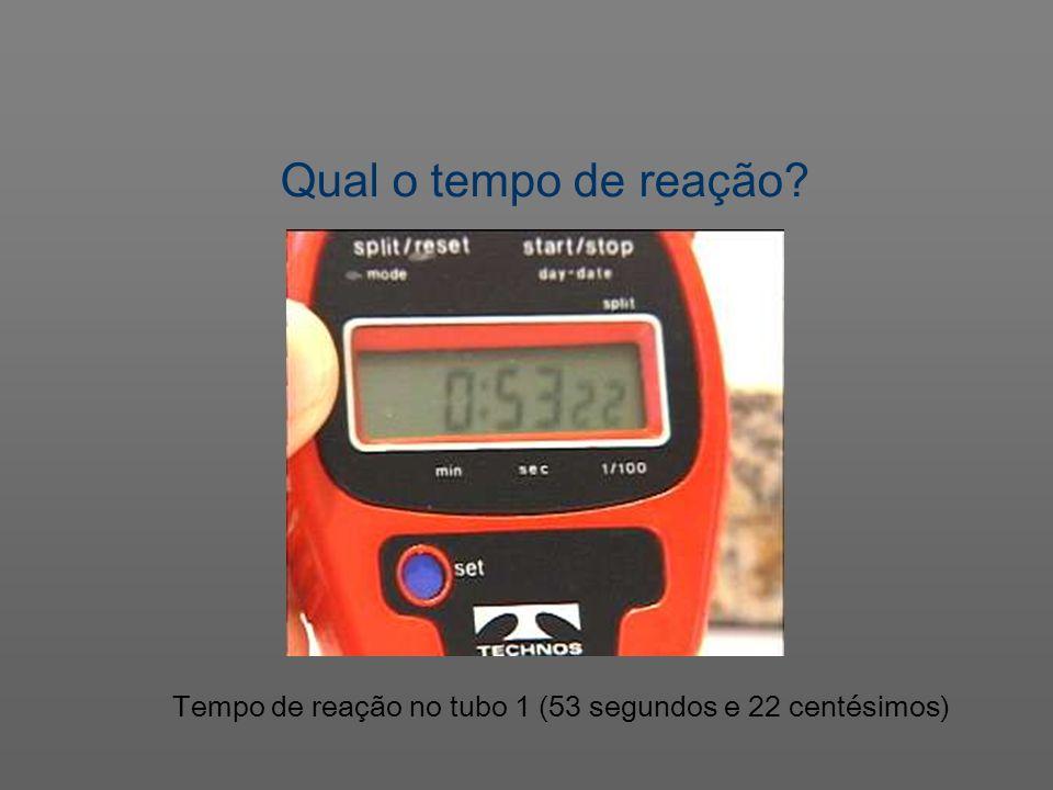Tempo de reação no tubo 1 (53 segundos e 22 centésimos) Qual o tempo de reação?