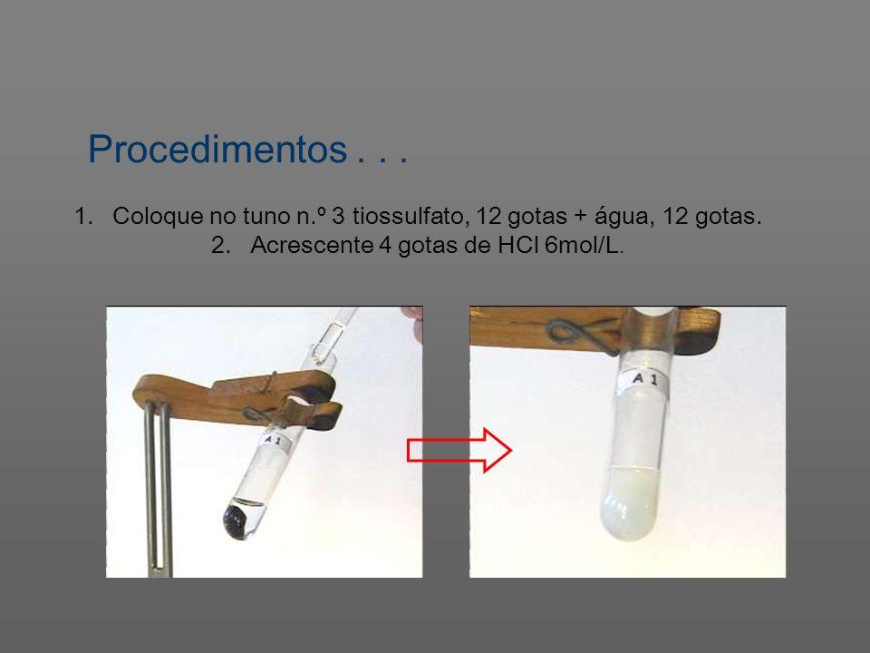 Procedimentos... 1. Coloque no tuno n.º 3 tiossulfato, 12 gotas + água, 12 gotas. 2. Acrescente 4 gotas de HCl 6mol/L.