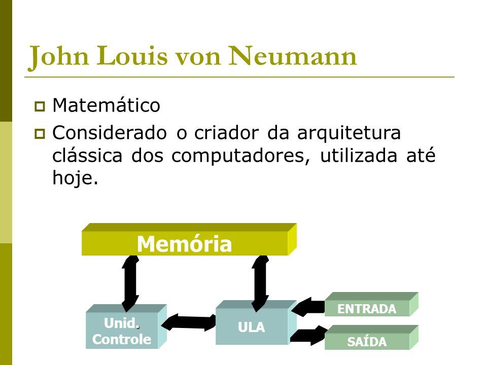 John Louis von Neumann Matemático Considerado o criador da arquitetura clássica dos computadores, utilizada até hoje.. Unid. Controle ULA Memória ENTR