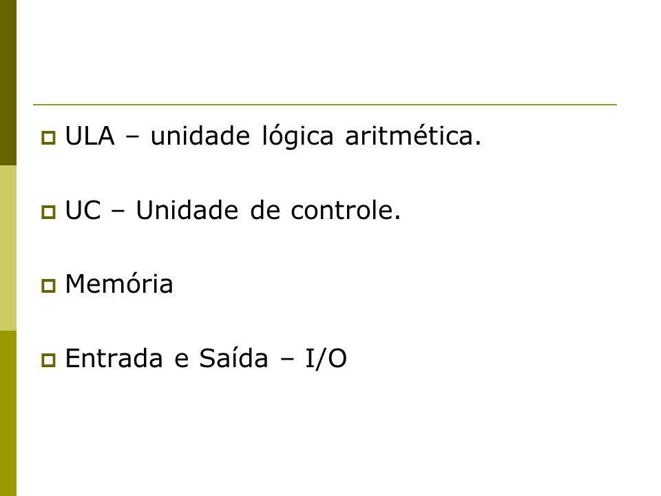 ULA – unidade lógica aritmética. UC – Unidade de controle. Memória Entrada e Saída – I/O