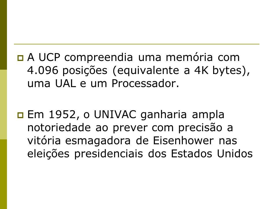 A UCP compreendia uma memória com 4.096 posições (equivalente a 4K bytes), uma UAL e um Processador. Em 1952, o UNIVAC ganharia ampla notoriedade ao p