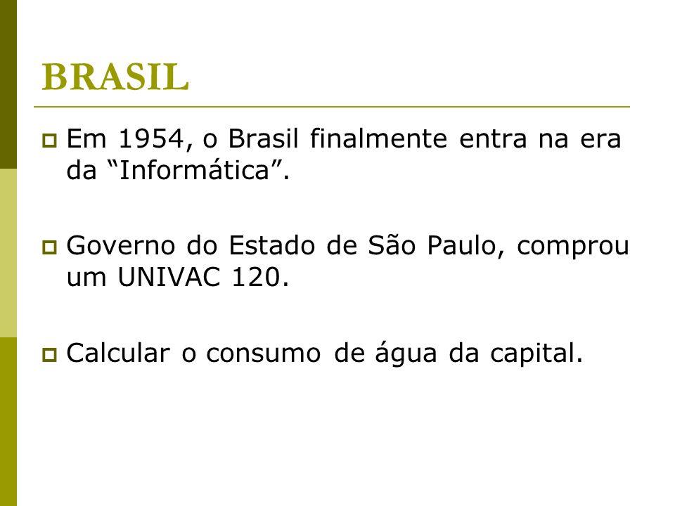 BRASIL Em 1954, o Brasil finalmente entra na era da Informática. Governo do Estado de São Paulo, comprou um UNIVAC 120. Calcular o consumo de água da