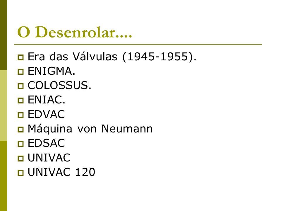 O Desenrolar.... Era das Válvulas (1945-1955). ENIGMA. COLOSSUS. ENIAC. EDVAC Máquina von Neumann EDSAC UNIVAC UNIVAC 120