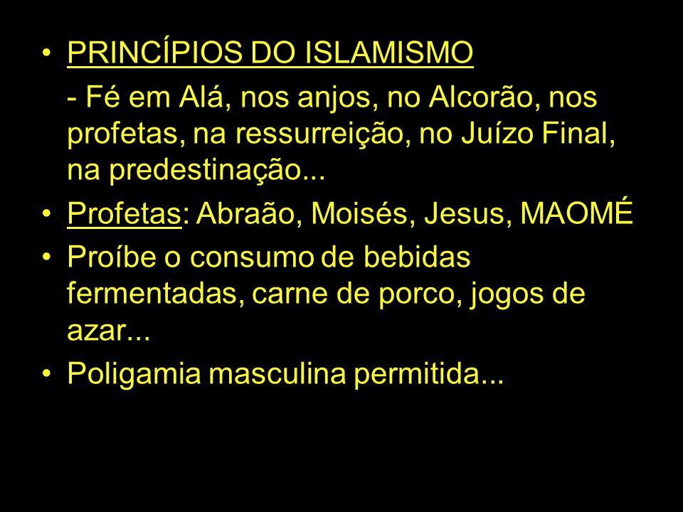 PRINCÍPIOS DO ISLAMISMO - Fé em Alá, nos anjos, no Alcorão, nos profetas, na ressurreição, no Juízo Final, na predestinação... Profetas: Abraão, Moisé