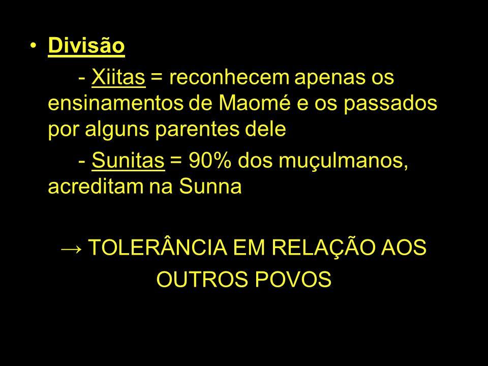 Divisão - Xiitas = reconhecem apenas os ensinamentos de Maomé e os passados por alguns parentes dele - Sunitas = 90% dos muçulmanos, acreditam na Sunn