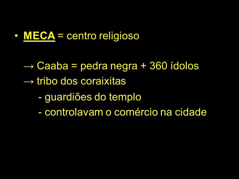 MECA = centro religioso Caaba = pedra negra + 360 ídolos tribo dos coraixitas - guardiões do templo - controlavam o comércio na cidade