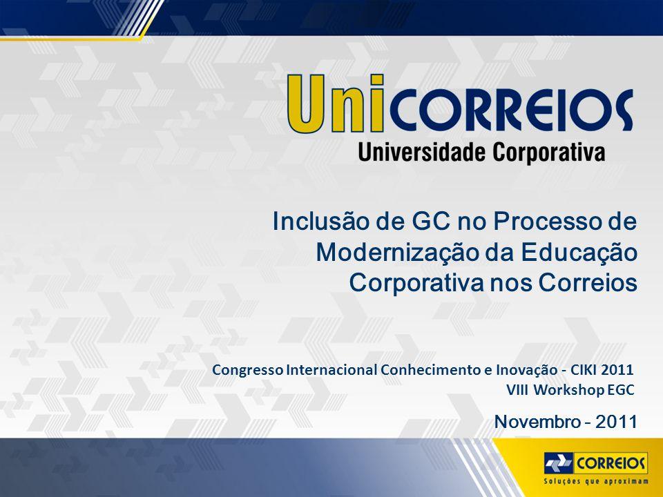 Inclusão de GC no Processo de Modernização da Educação Corporativa nos Correios Novembro - 2011 Congresso Internacional Conhecimento e Inovação - CIKI