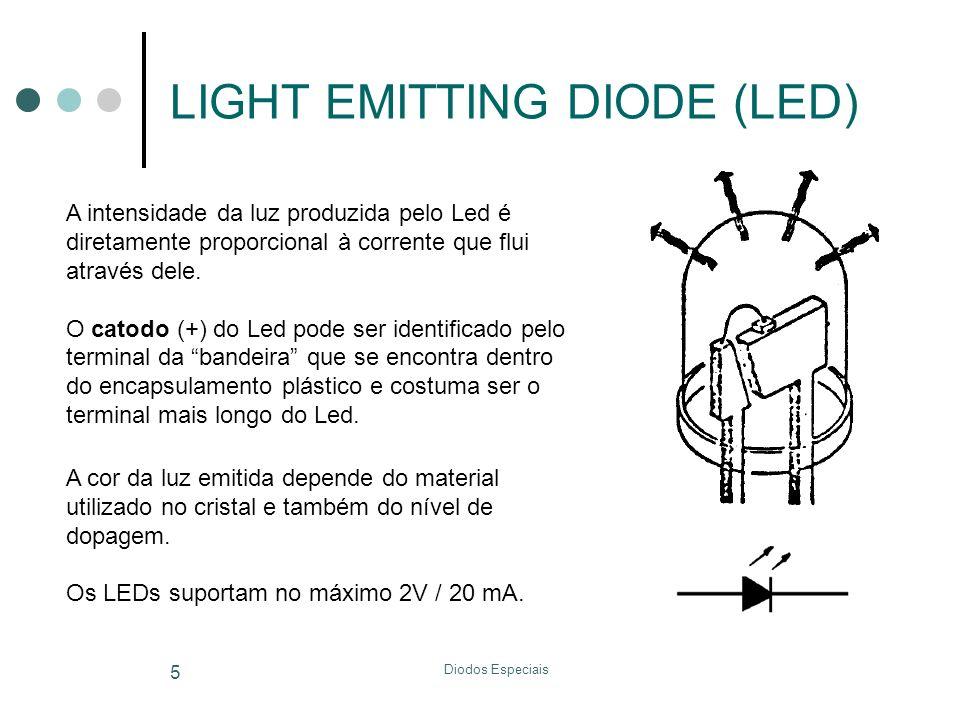 Diodos Especiais 5 LIGHT EMITTING DIODE (LED) A intensidade da luz produzida pelo Led é diretamente proporcional à corrente que flui através dele. O c