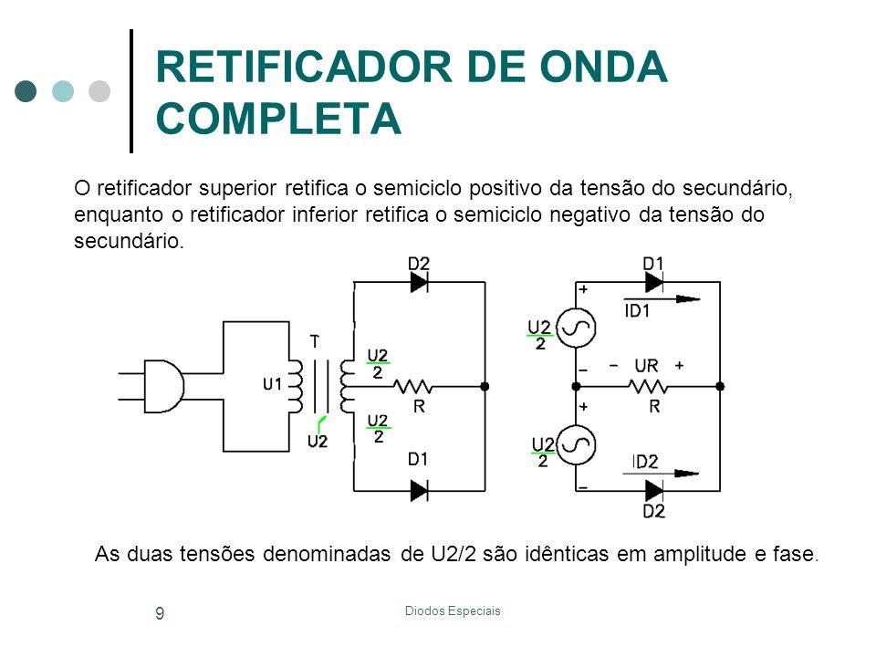 Diodos Especiais 9 RETIFICADOR DE ONDA COMPLETA O retificador superior retifica o semiciclo positivo da tensão do secundário, enquanto o retificador i