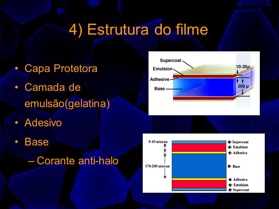 4) Estrutura do filme Capa Protetora Camada de emulsão(gelatina) Adesivo Base –Corante anti-halo