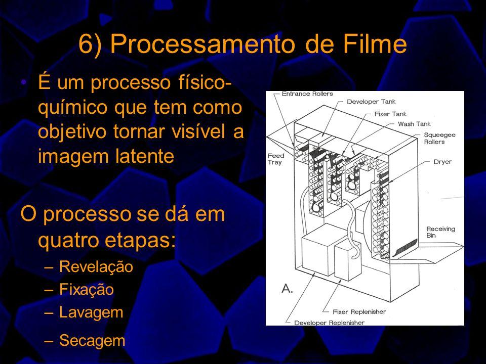 6) Processamento de Filme É um processo físico- químico que tem como objetivo tornar visível a imagem latente O processo se dá em quatro etapas: –Reve
