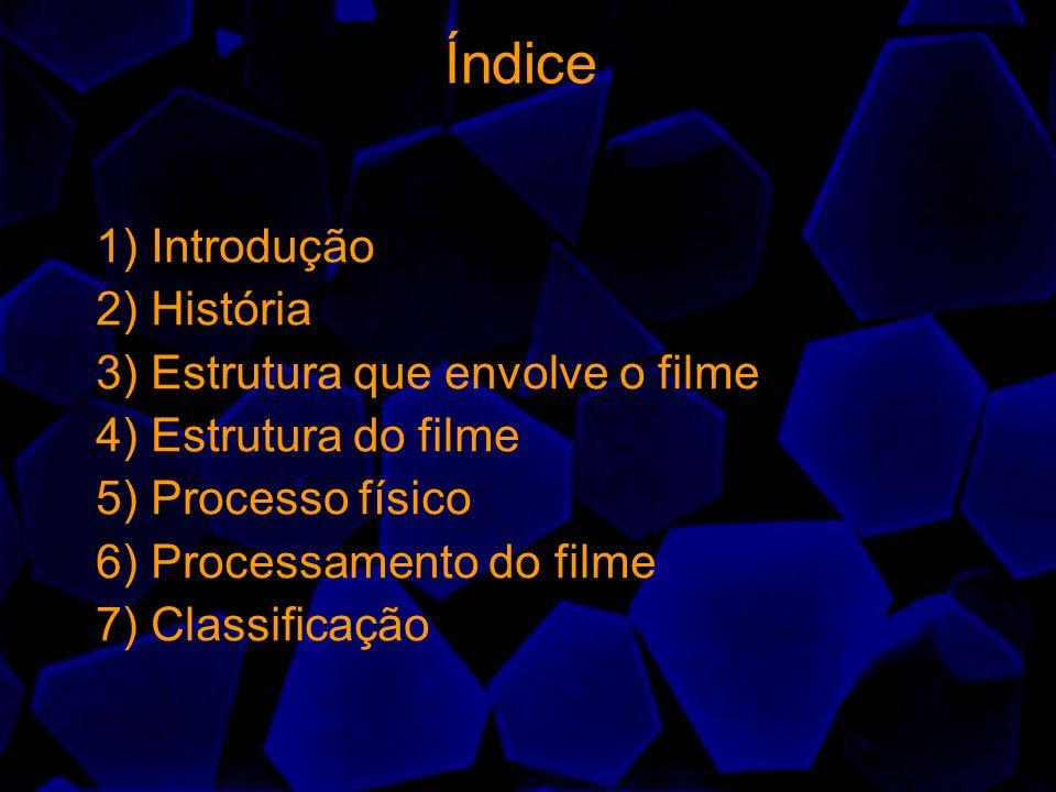 Índice 1) Introdução 2) História 3) Estrutura que envolve o filme 4) Estrutura do filme 5) Processo físico 6) Processamento do filme 7) Classificação