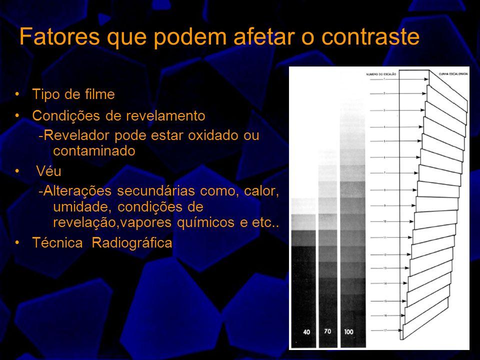 Tipo de filme Condições de revelamento -Revelador pode estar oxidado ou contaminado Véu -Alterações secundárias como, calor, umidade, condições de rev