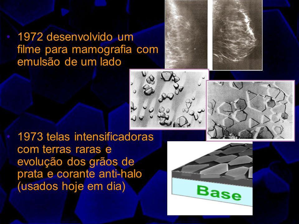1972 desenvolvido um filme para mamografia com emulsão de um lado 1973 telas intensificadoras com terras raras e evolução dos grãos de prata e corante