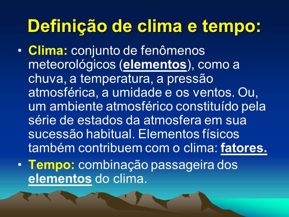 Clima: conjunto de fenômenos meteorológicos (elementos), como a chuva, a temperatura, a pressão atmosférica, a umidade e os ventos. Ou, um ambiente at