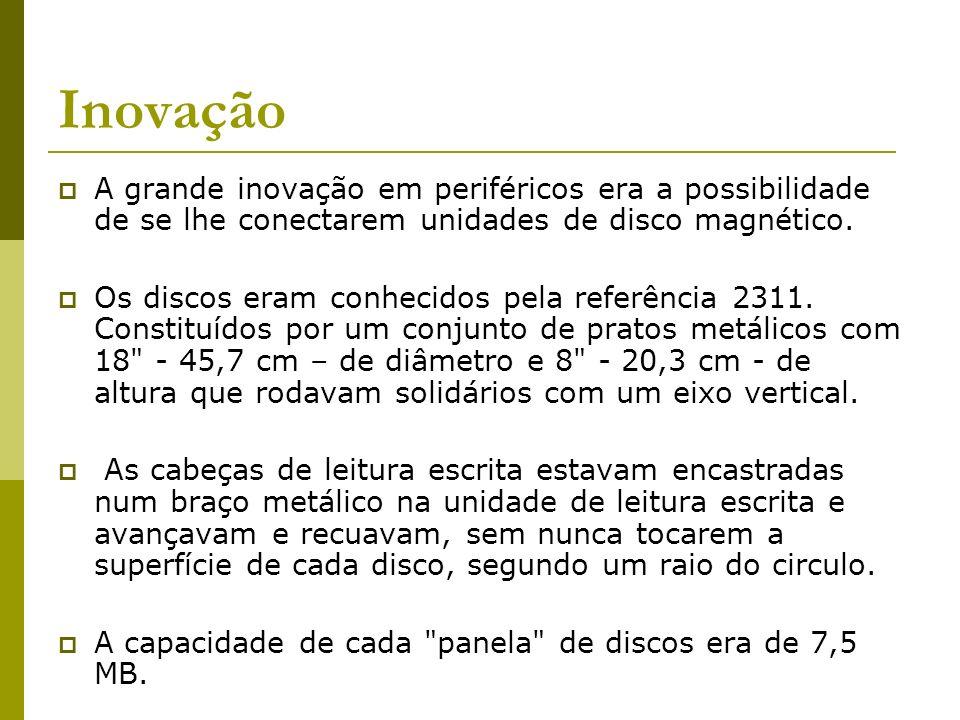Inovação A grande inovação em periféricos era a possibilidade de se lhe conectarem unidades de disco magnético. Os discos eram conhecidos pela referên