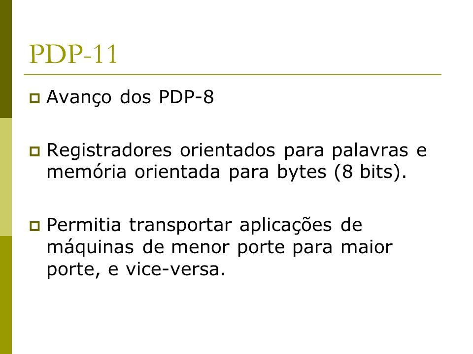 PDP-11 Avanço dos PDP-8 Registradores orientados para palavras e memória orientada para bytes (8 bits). Permitia transportar aplicações de máquinas de