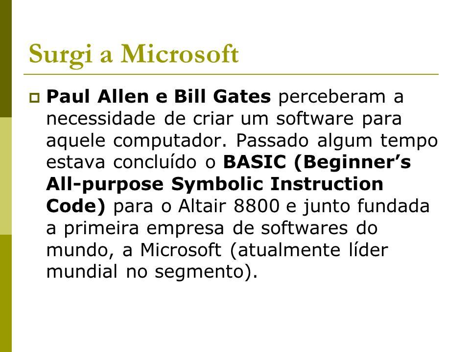 Surgi a Microsoft Paul Allen e Bill Gates perceberam a necessidade de criar um software para aquele computador. Passado algum tempo estava concluído o