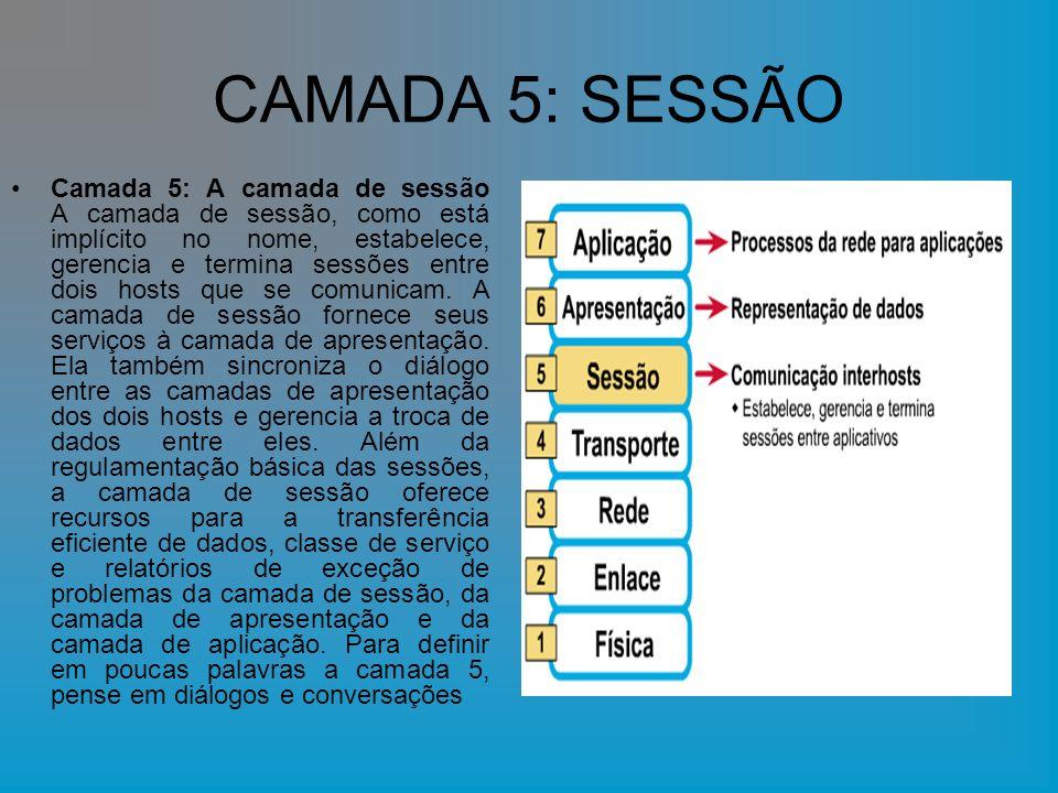 CAMADA 5: SESSÃO Camada 5: A camada de sessão A camada de sessão, como está implícito no nome, estabelece, gerencia e termina sessões entre dois hosts que se comunicam.