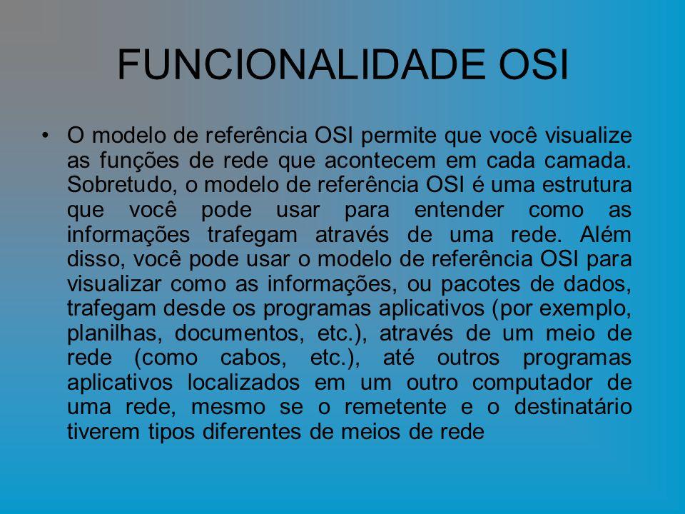 FUNCIONALIDADE OSI O modelo de referência OSI permite que você visualize as funções de rede que acontecem em cada camada. Sobretudo, o modelo de refer