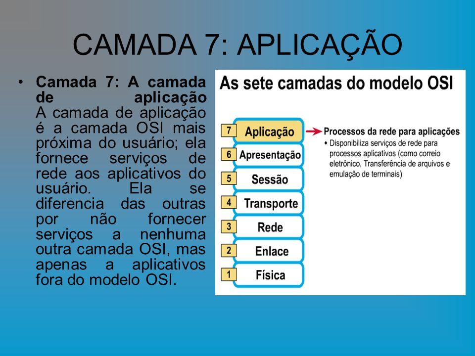 CAMADA 7: APLICAÇÃO Camada 7: A camada de aplicação A camada de aplicação é a camada OSI mais próxima do usuário; ela fornece serviços de rede aos apl