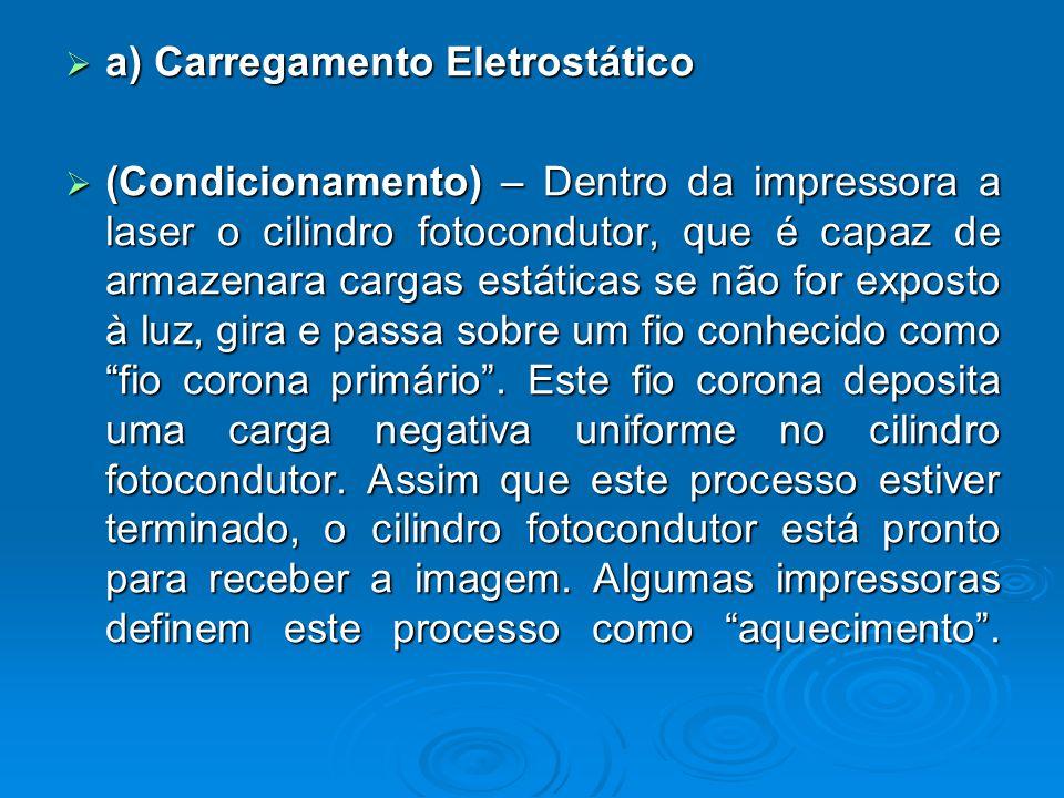 a) Carregamento Eletrostático a) Carregamento Eletrostático (Condicionamento) – Dentro da impressora a laser o cilindro fotocondutor, que é capaz de a