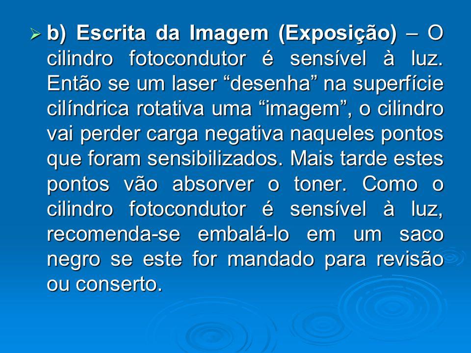 b) Escrita da Imagem (Exposição) – O cilindro fotocondutor é sensível à luz. Então se um laser desenha na superfície cilíndrica rotativa uma imagem, o