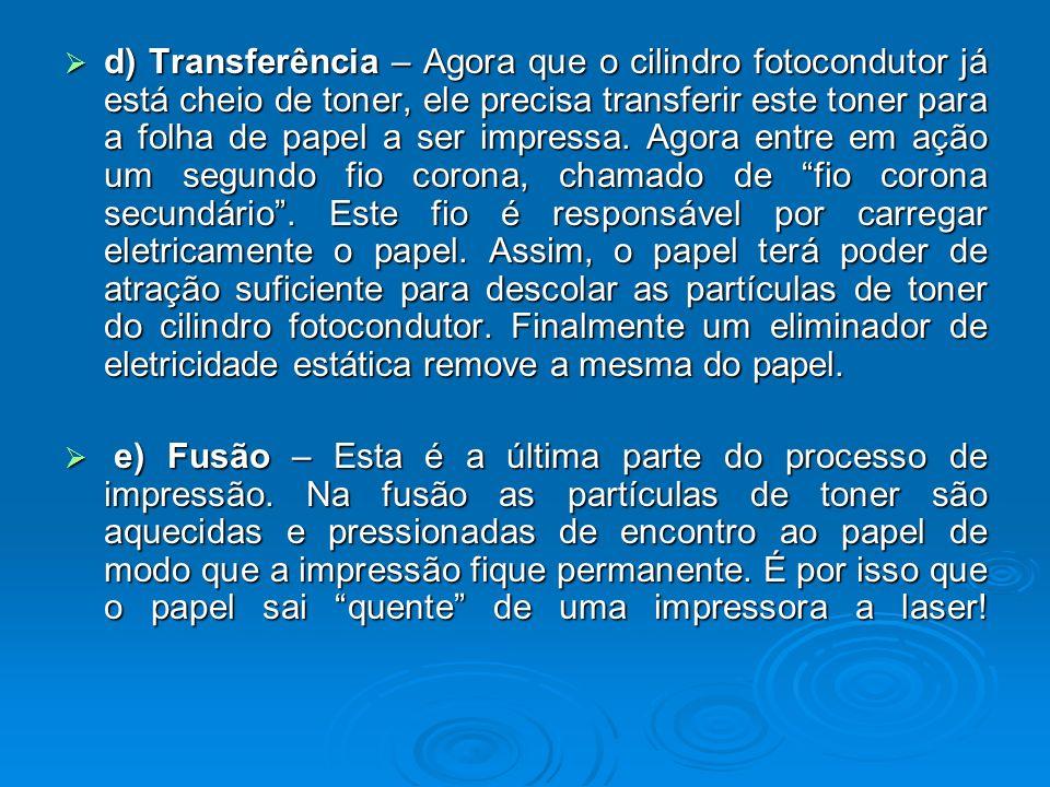 d) Transferência – Agora que o cilindro fotocondutor já está cheio de toner, ele precisa transferir este toner para a folha de papel a ser impressa. A